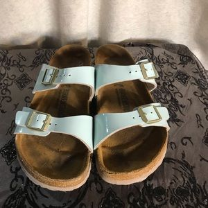 Gently worn Birkenstocks Light blue